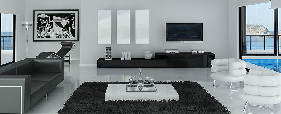 Muebles de salón lacado negro y lacado blanco | Vigoco