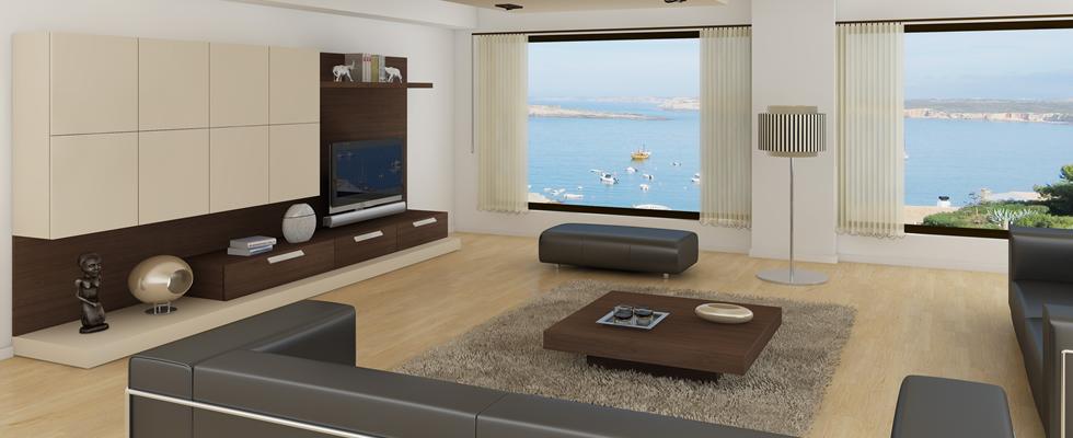 Muebles de salón nogal y crema   Vigoco